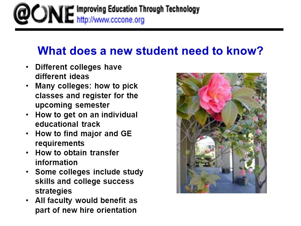 What does a new student need to know? Different colleges have different ideas Many colleges: how to pick classes and register for the upcoming semeste