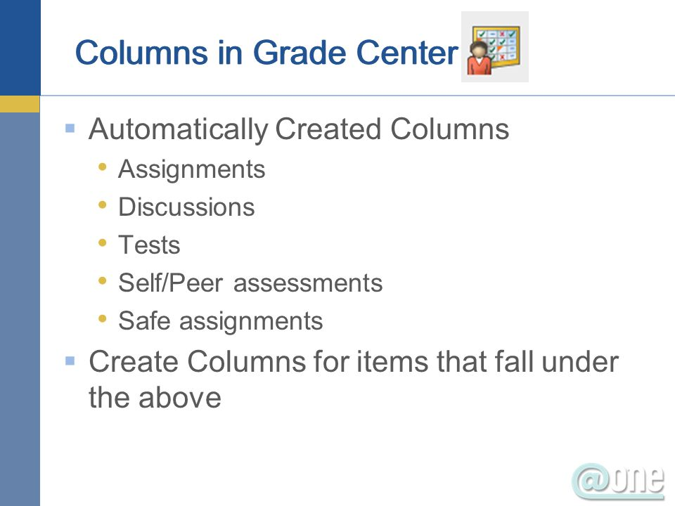 Automatically Created Columns Assignments Discussions Tests Self/Peer assessments Safe assignments Create Columns for items that fall under the above