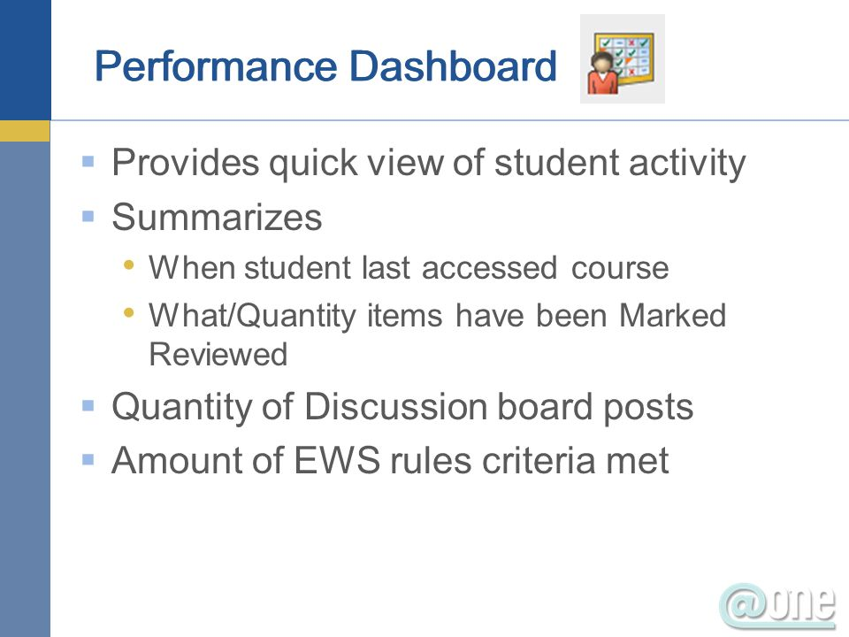 Provides quick view of student activity Summarizes When student last accessed course What/Quantity items have been Marked Reviewed Quantity of Discussion board posts Amount of EWS rules criteria met