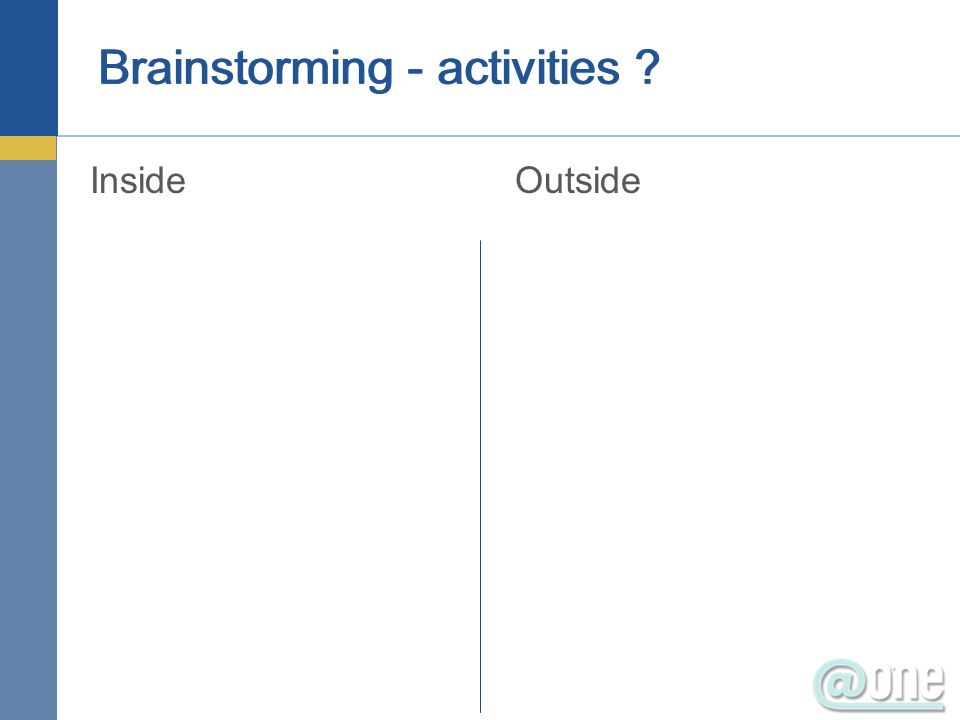 Brainstorming - activities ? InsideOutside