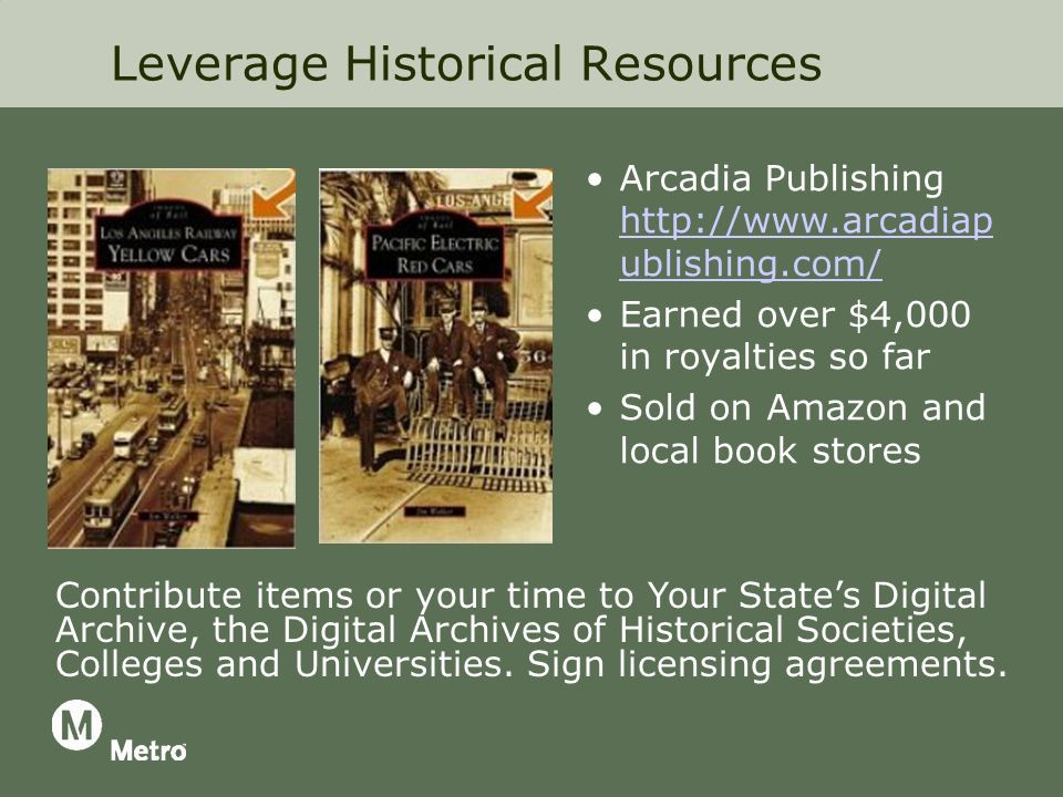 Leverage Historical Resources Arcadia Publishing   ublishing.com/   ublishing.com/ Earned over $4,000 in royalties so far Sold on Amazon and local book stores Contribute items or your time to Your States Digital Archive, the Digital Archives of Historical Societies, Colleges and Universities.