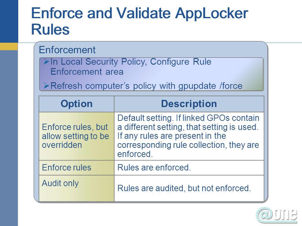 Enforcement In Local Security Policy, Configure Rule Enforcement area Refresh computers policy with gpupdate /force In Local Security Policy, Configure Rule Enforcement area Refresh computers policy with gpupdate /force OptionDescription Enforce rules, but allow setting to be overridden Default setting.