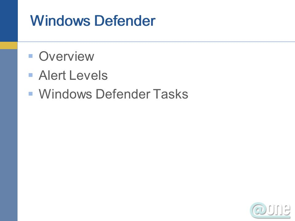 Overview Alert Levels Windows Defender Tasks