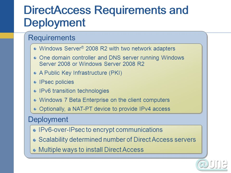 Requirements Deployment Requirements Deployment Windows Server ® 2008 R2 with two network adapters One domain controller and DNS server running Windows Server 2008 or Windows Server 2008 R2 A Public Key Infrastructure (PKI) IPsec policies IPv6 transition technologies Windows 7 Beta Enterprise on the client computers Optionally, a NAT-PT device to provide IPv4 access Windows Server ® 2008 R2 with two network adapters One domain controller and DNS server running Windows Server 2008 or Windows Server 2008 R2 A Public Key Infrastructure (PKI) IPsec policies IPv6 transition technologies Windows 7 Beta Enterprise on the client computers Optionally, a NAT-PT device to provide IPv4 access IPv6-over-IPsec to encrypt communications Scalability determined number of Direct Access servers Multiple ways to install Direct Access IPv6-over-IPsec to encrypt communications Scalability determined number of Direct Access servers Multiple ways to install Direct Access
