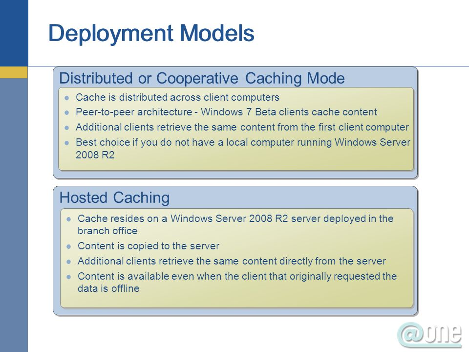 Distributed or Cooperative Caching Mode Cache is distributed across client computers Peer-to-peer architecture - Windows 7 Beta clients cache content Additional clients retrieve the same content from the first client computer Best choice if you do not have a local computer running Windows Server 2008 R2 Cache is distributed across client computers Peer-to-peer architecture - Windows 7 Beta clients cache content Additional clients retrieve the same content from the first client computer Best choice if you do not have a local computer running Windows Server 2008 R2 Hosted Caching Cache resides on a Windows Server 2008 R2 server deployed in the branch office Content is copied to the server Additional clients retrieve the same content directly from the server Content is available even when the client that originally requested the data is offline Cache resides on a Windows Server 2008 R2 server deployed in the branch office Content is copied to the server Additional clients retrieve the same content directly from the server Content is available even when the client that originally requested the data is offline