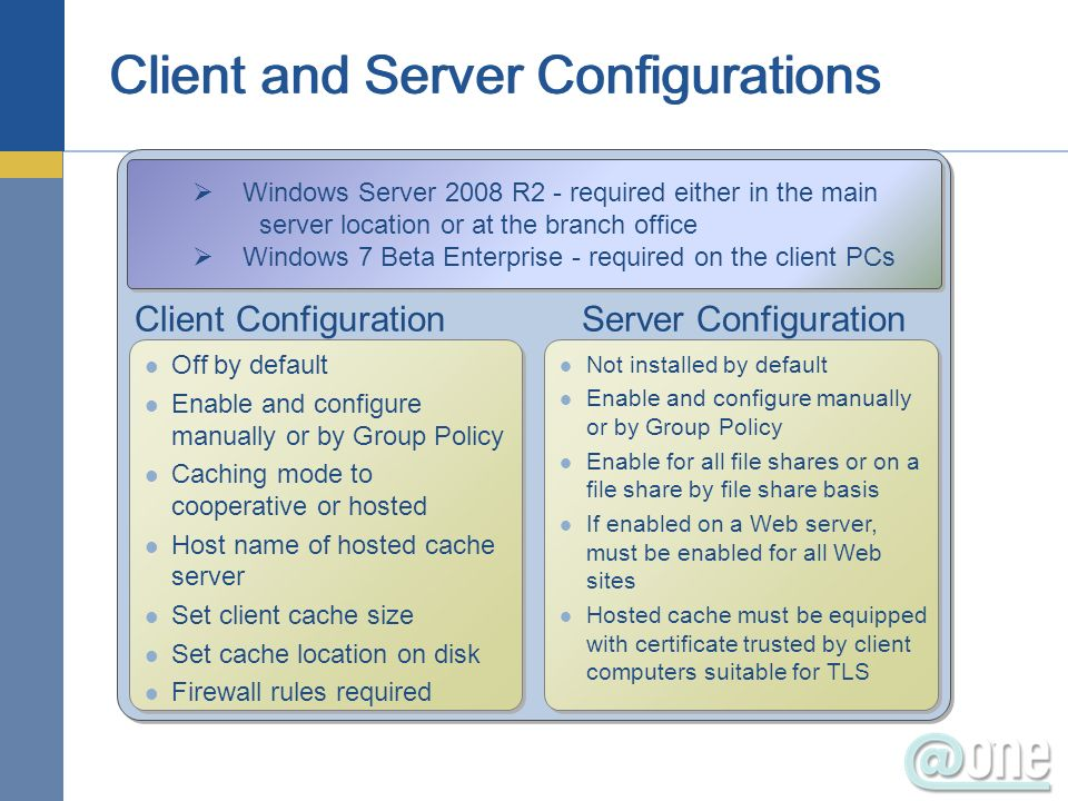 Client Configuration Server Configuration Off by default Enable and configure manually or by Group Policy Caching mode to cooperative or hosted Host name of hosted cache server Set client cache size Set cache location on disk Firewall rules required Off by default Enable and configure manually or by Group Policy Caching mode to cooperative or hosted Host name of hosted cache server Set client cache size Set cache location on disk Firewall rules required Windows Server 2008 R2 - required either in the main server location or at the branch office Windows 7 Beta Enterprise - required on the client PCs Windows Server 2008 R2 - required either in the main server location or at the branch office Windows 7 Beta Enterprise - required on the client PCs Not installed by default Enable and configure manually or by Group Policy Enable for all file shares or on a file share by file share basis If enabled on a Web server, must be enabled for all Web sites Hosted cache must be equipped with certificate trusted by client computers suitable for TLS Not installed by default Enable and configure manually or by Group Policy Enable for all file shares or on a file share by file share basis If enabled on a Web server, must be enabled for all Web sites Hosted cache must be equipped with certificate trusted by client computers suitable for TLS
