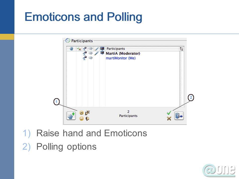 Emoticons and Polling 1)Raise hand and Emoticons 2)Polling options