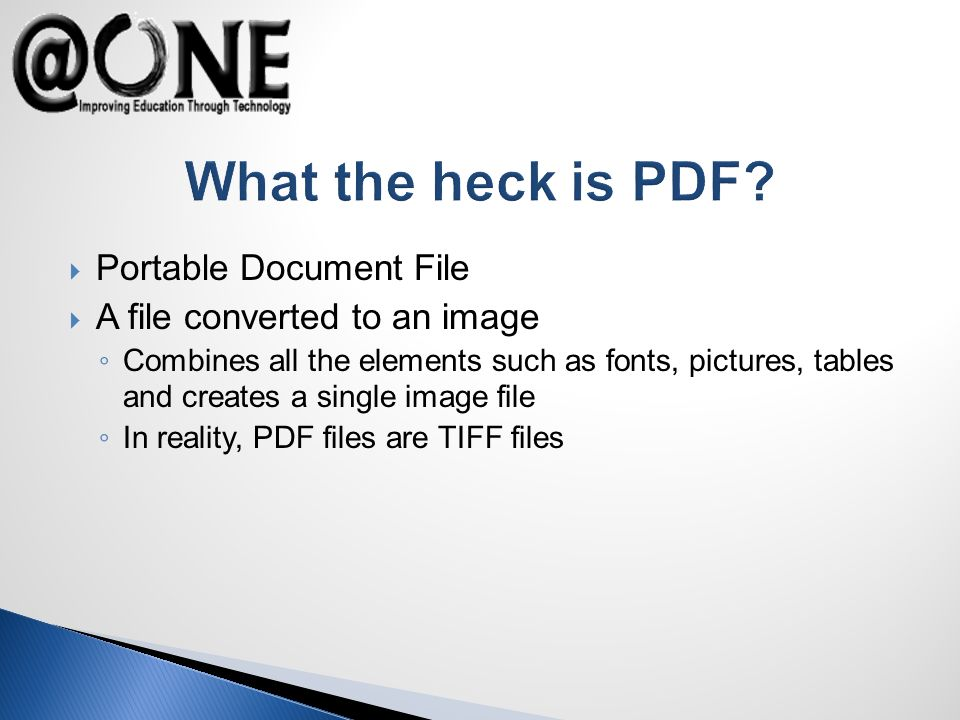 What the heck is PDF.