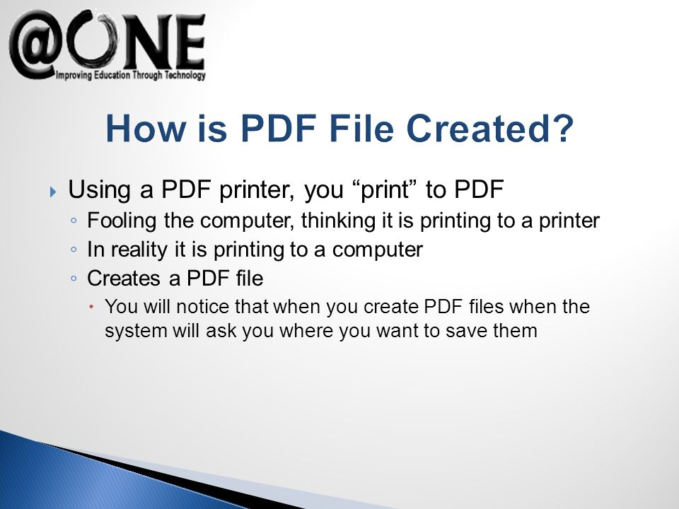 How is PDF File Created.