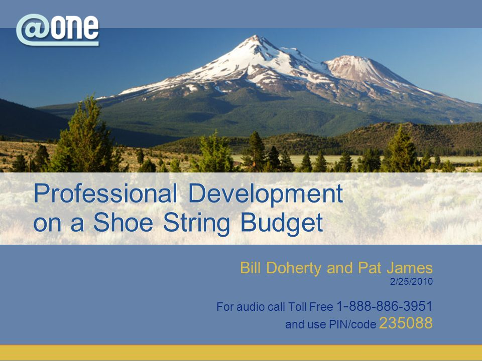 Bill Doherty and Pat James 2/25/2010 For audio call Toll Free 1 - 888-886-3951 and use PIN/code 235088 Professional Development on a Shoe String Budget