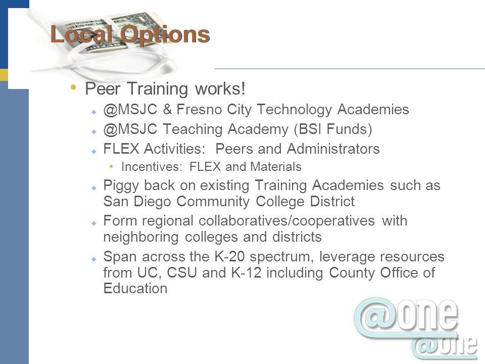 Peer Training works! @MSJC & Fresno City Technology Academies @MSJC Teaching Academy (BSI Funds) FLEX Activities: Peers and Administrators Incentives: