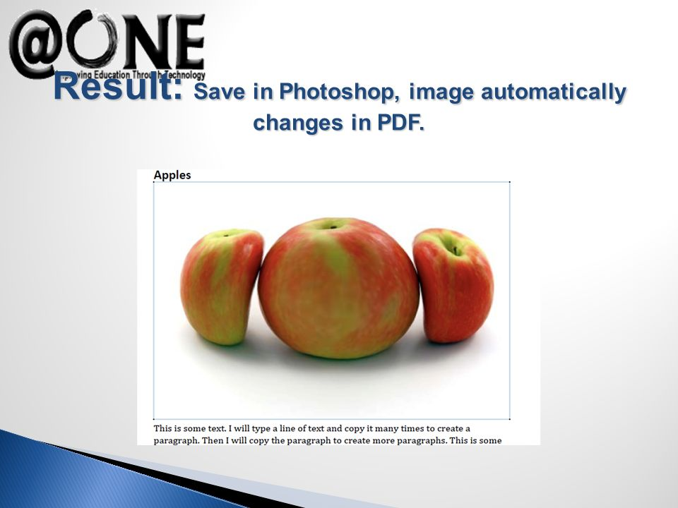 Result: Save in Photoshop, image automatically changes in PDF.
