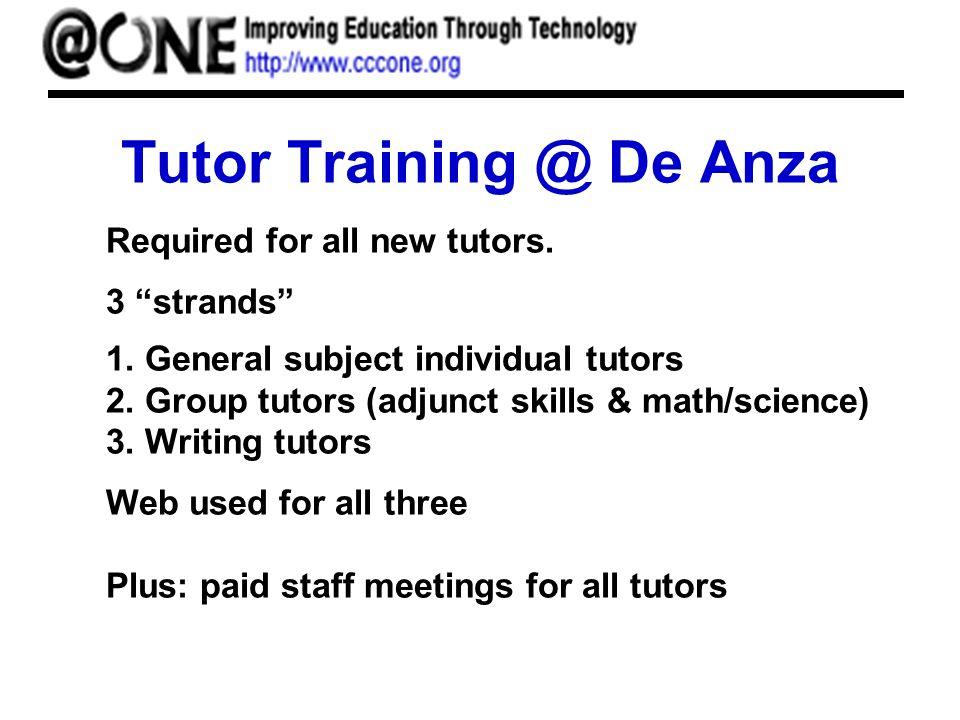 Tutor Training @ De Anza Required for all new tutors.