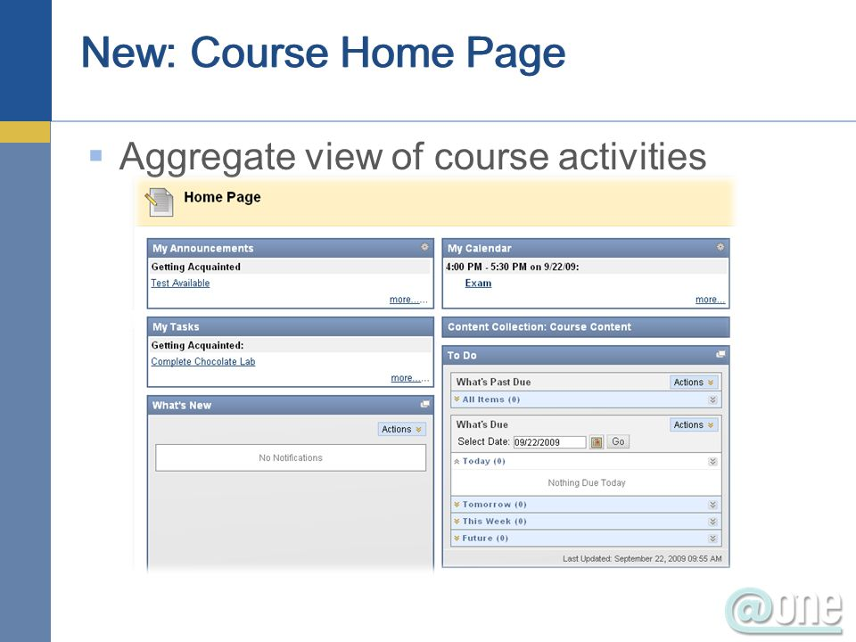 New: Course Home Page Aggregate view of course activities