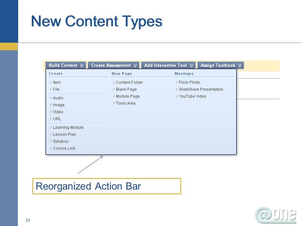 24 Reorganized Action Bar