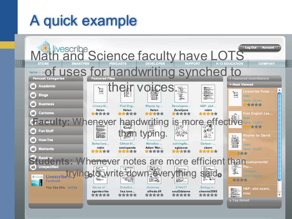 A quick example Math and Science faculty have LOTS of uses for handwriting synched to their voices. Faculty: Whenever handwriting is more effective th