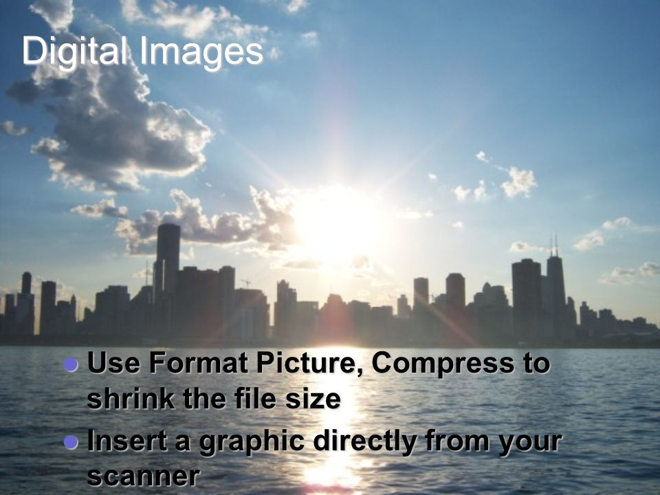 Digital Images Use Format Picture, Compress to shrink the file size Use Format Picture, Compress to shrink the file size Insert a graphic directly from your scanner Insert a graphic directly from your scanner