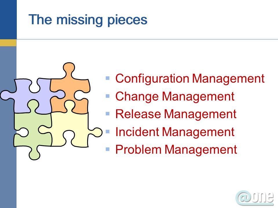 Configuration Management Change Management Release Management Incident Management Problem Management