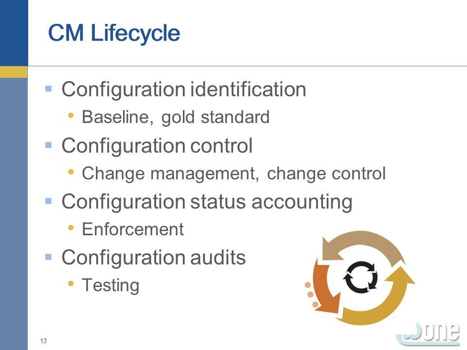 Configuration identification Baseline, gold standard Configuration control Change management, change control Configuration status accounting Enforceme