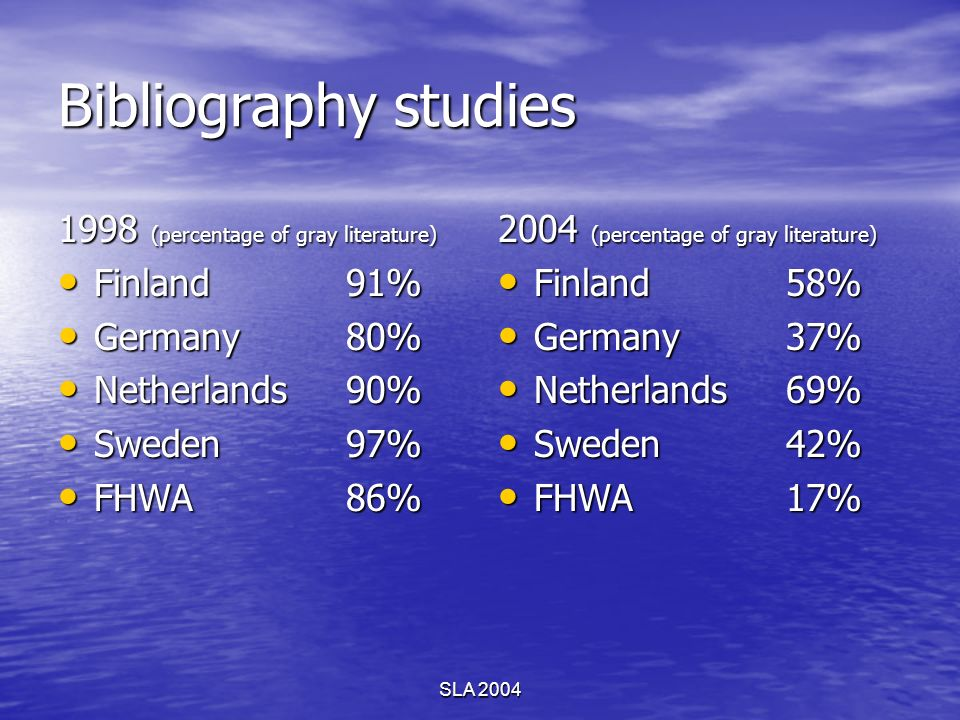 SLA 2004 Bibliography studies 1998 (percentage of gray literature) Finland91% Finland91% Germany80% Germany80% Netherlands90% Netherlands90% Sweden97%