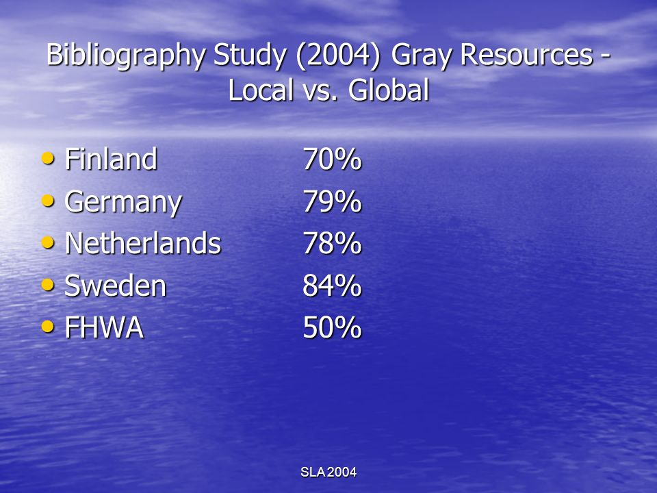 SLA 2004 Bibliography Study (2004) Gray Resources - Local vs. Global Finland70% Finland70% Germany79% Germany79% Netherlands78% Netherlands78% Sweden8
