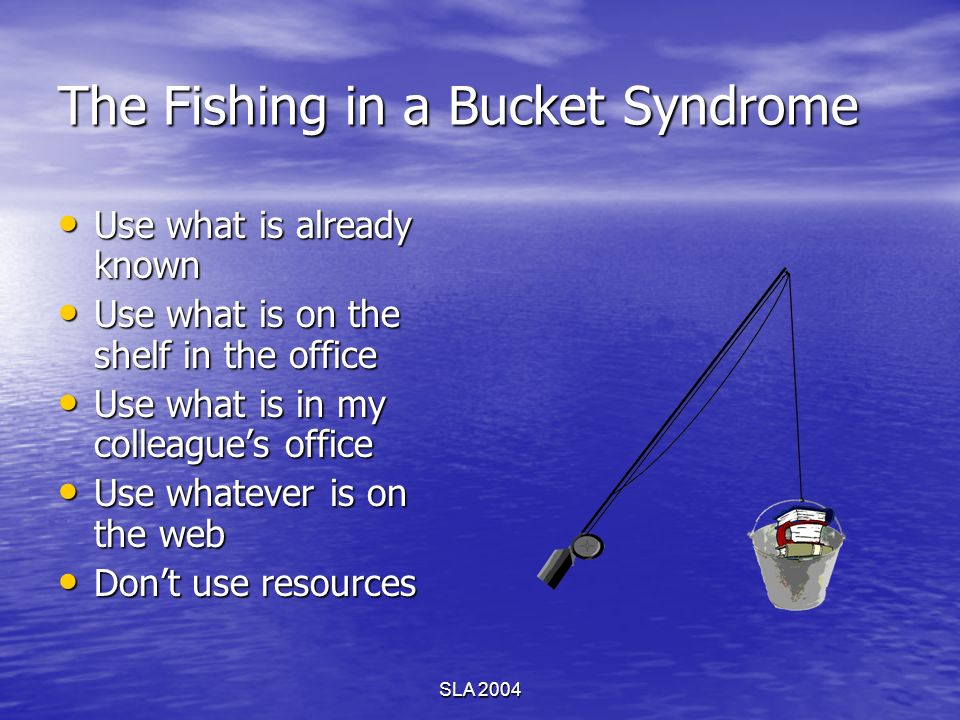 SLA 2004 The Fishing in a Bucket Syndrome Use what is already known Use what is already known Use what is on the shelf in the office Use what is on th