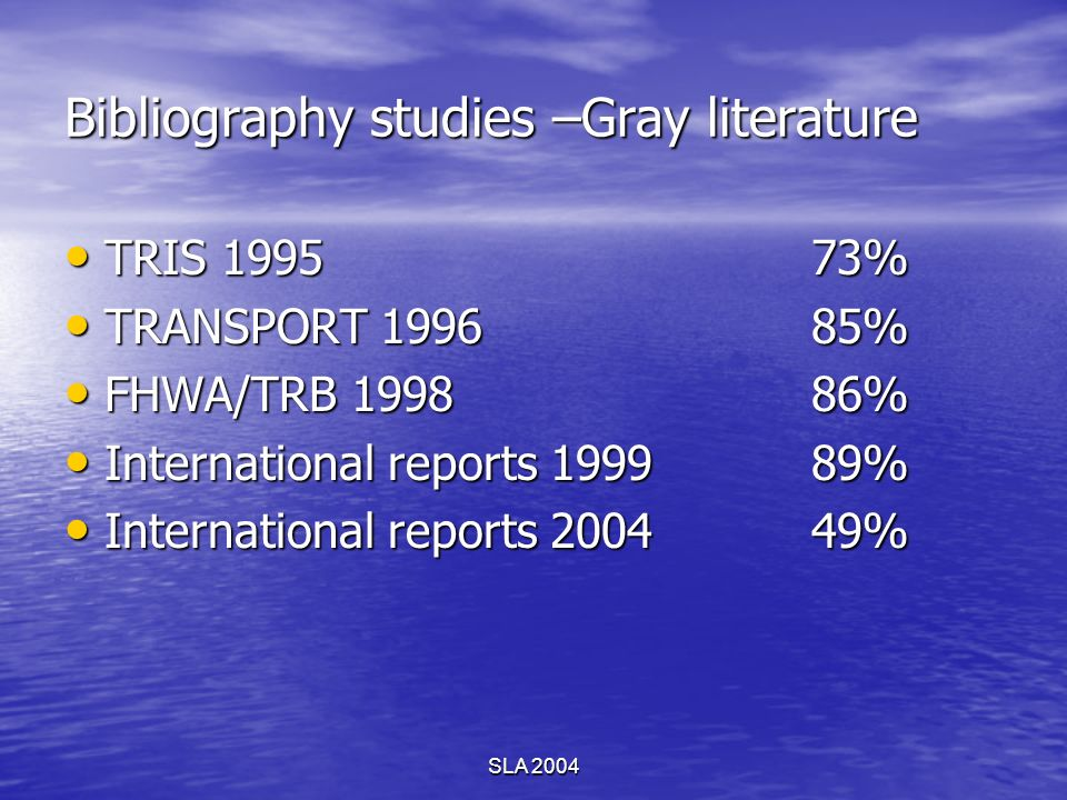 SLA 2004 Bibliography studies –Gray literature TRIS 1995 73% TRIS 1995 73% TRANSPORT 199685% TRANSPORT 199685% FHWA/TRB 199886% FHWA/TRB 199886% Inter