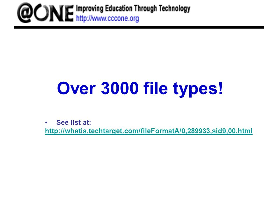 Over 3000 file types! See list at: http://whatis.techtarget.com/fileFormatA/0,289933,sid9,00.html http://whatis.techtarget.com/fileFormatA/0,289933,si