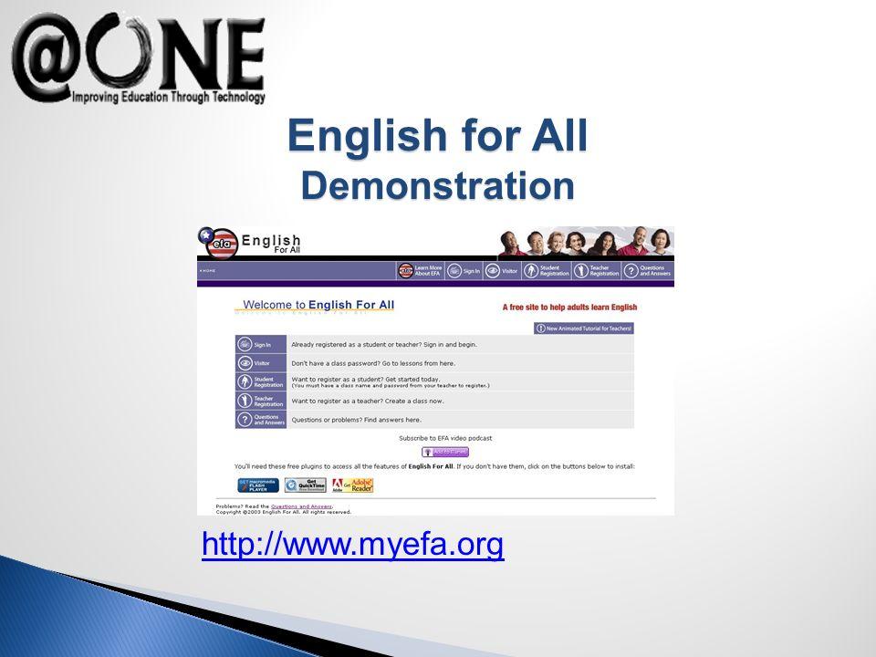 http://www.myefa.org English for All Demonstration