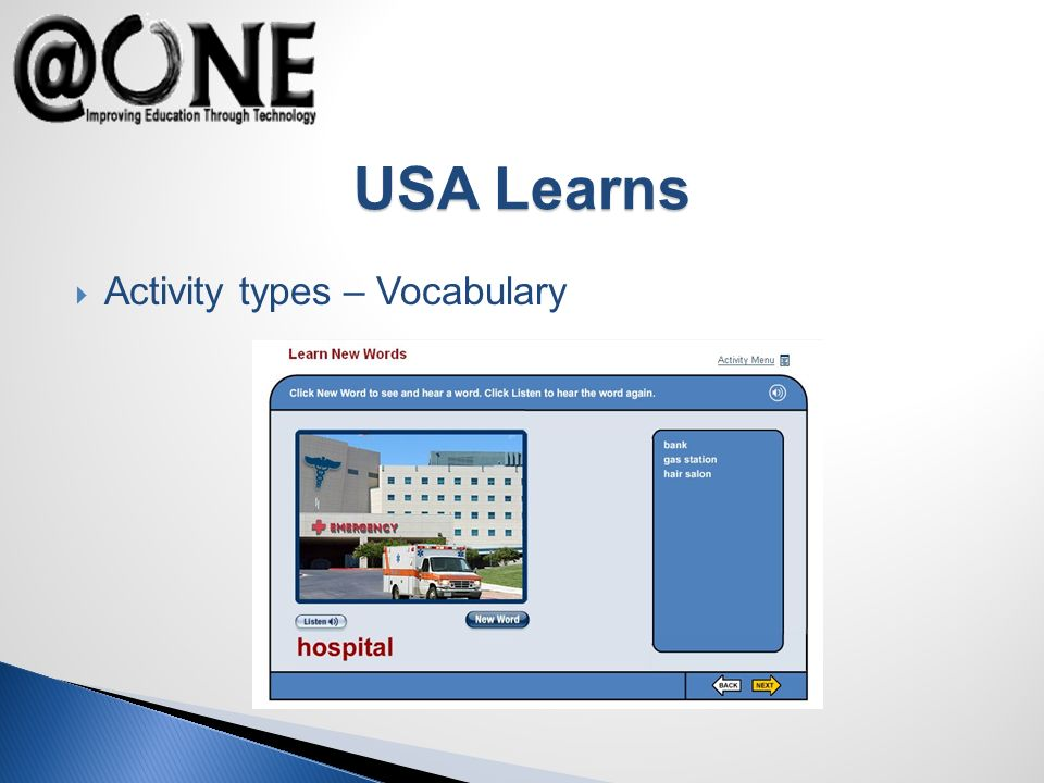 Activity types – Vocabulary USA Learns