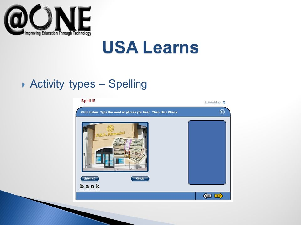 Activity types – Spelling USA Learns