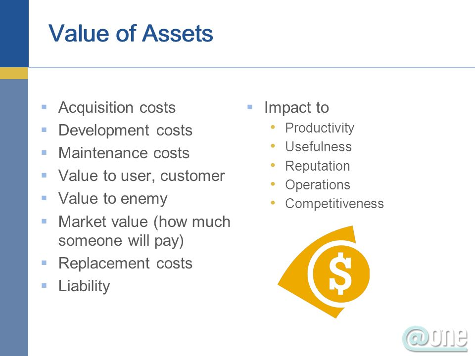 Acquisition costs Development costs Maintenance costs Value to user, customer Value to enemy Market value (how much someone will pay) Replacement cost