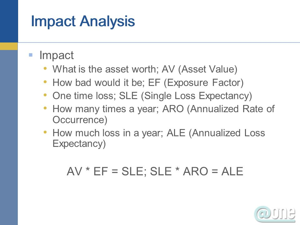 Impact What is the asset worth; AV (Asset Value) How bad would it be; EF (Exposure Factor) One time loss; SLE (Single Loss Expectancy) How many times