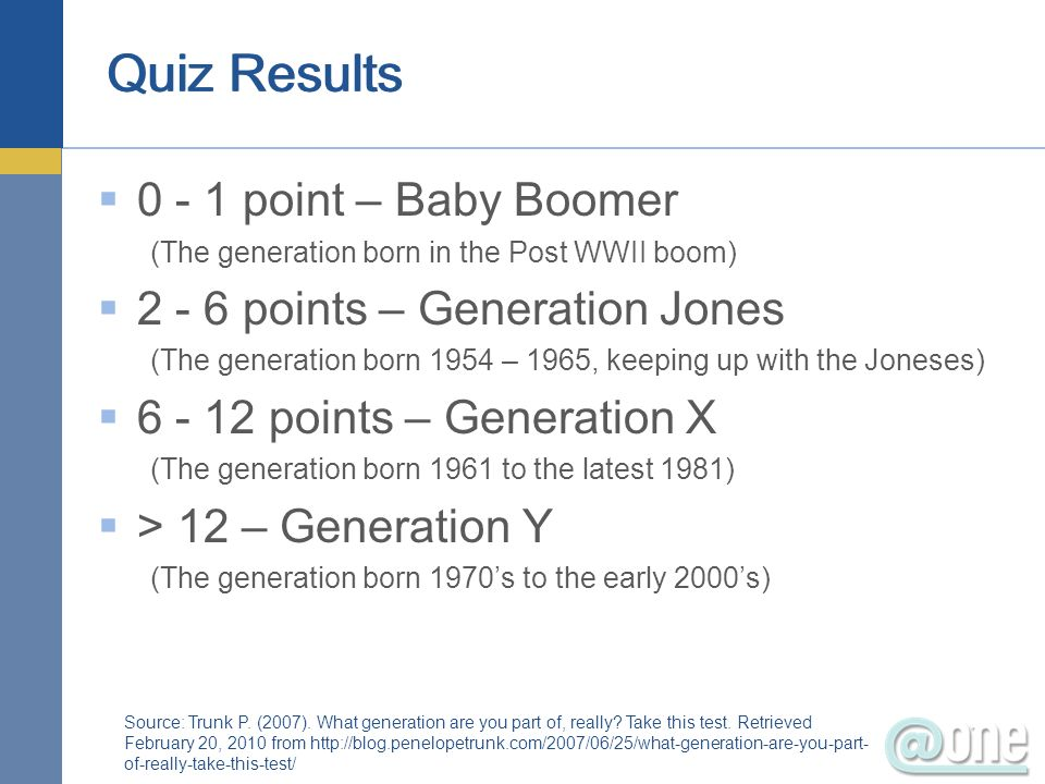 Quiz Results 0 - 1 point – Baby Boomer (The generation born in the Post WWII boom) 2 - 6 points – Generation Jones (The generation born 1954 – 1965, k