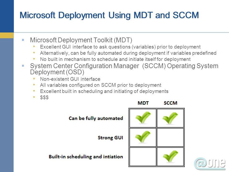 Microsoft Deployment Toolkit (MDT) Excellent GUI interface to ask questions (variables) prior to deployment Alternatively, can be fully automated duri