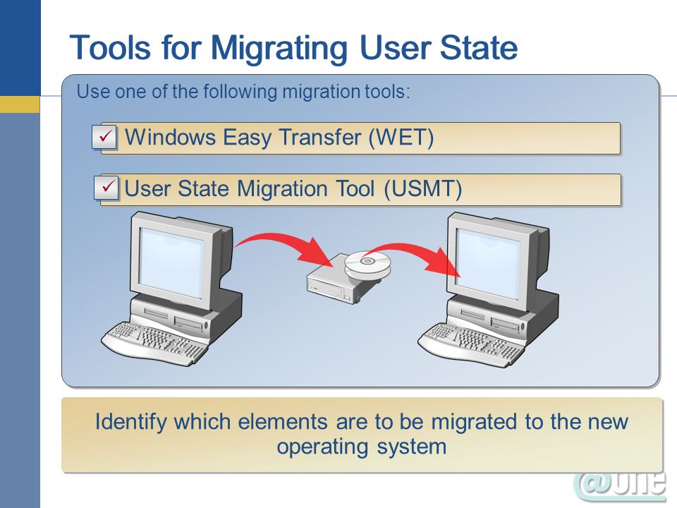 Use one of the following migration tools: Windows Easy Transfer (WET) User State Migration Tool (USMT) Identify which elements are to be migrated to t