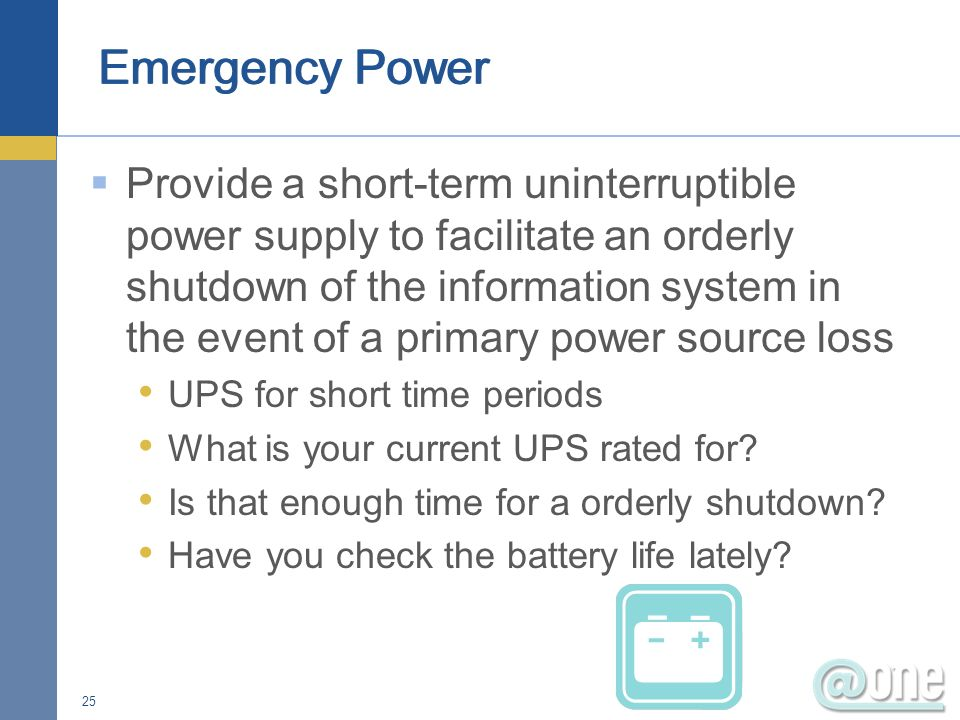 Power switch to turn off all system Life safety issue Server rooms can be equipped with a switch that will turn off all equipment included those on battery backup Place switch in a accessible location Protect switch from accidental activation 24