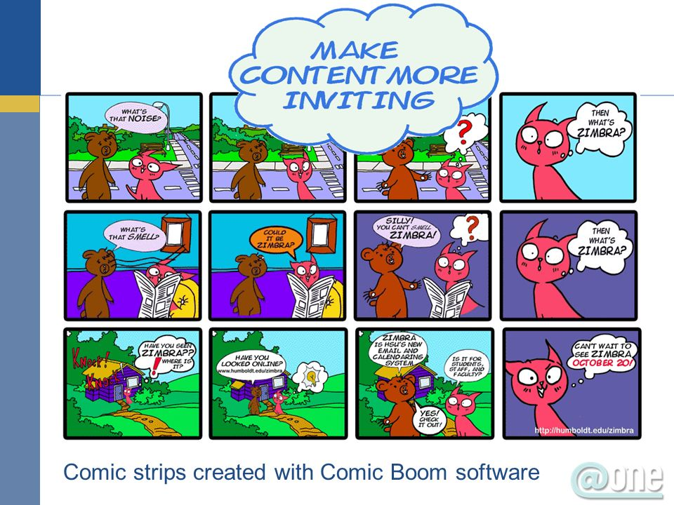 Comic strips created with Comic Boom software