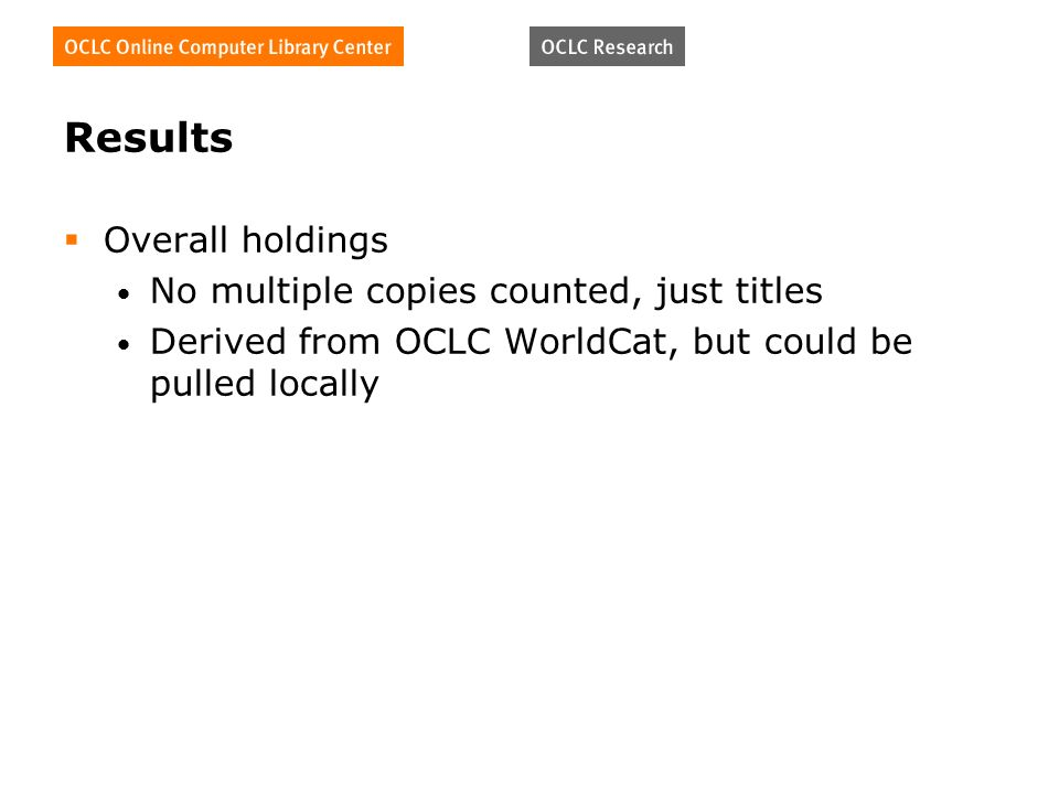 Results Overall holdings No multiple copies counted, just titles Derived from OCLC WorldCat, but could be pulled locally