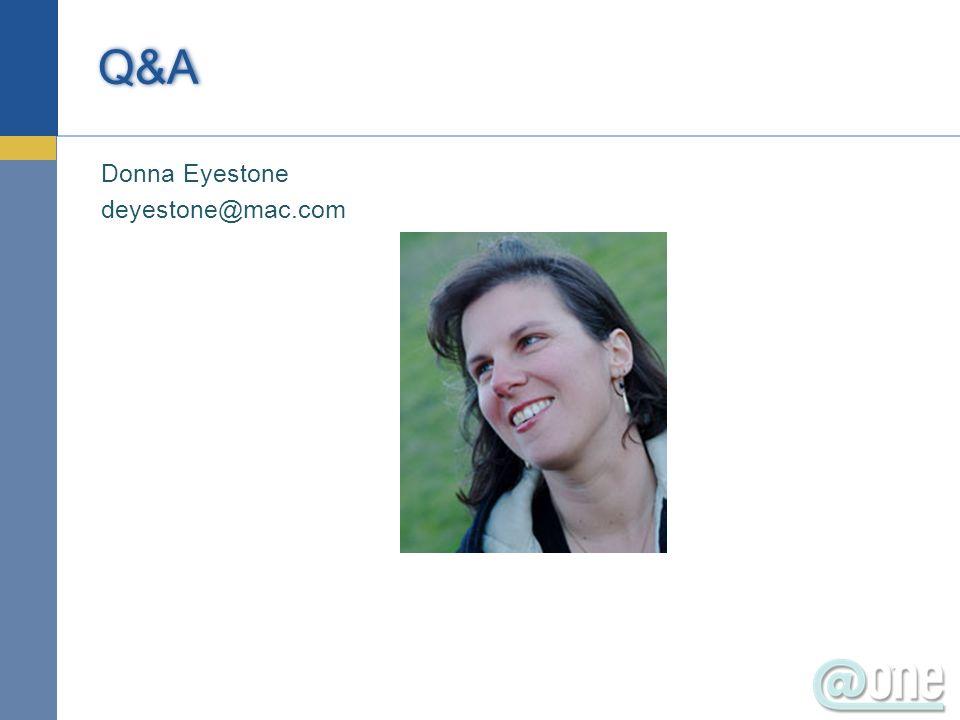 Donna Eyestone deyestone@mac.com Q&A