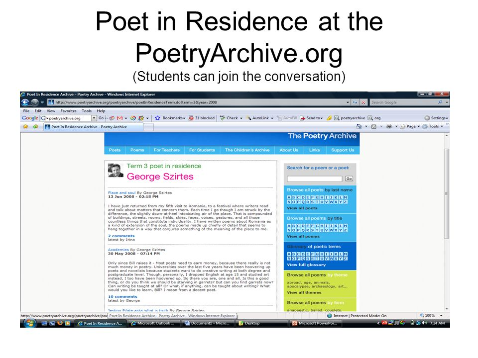 Poet in Residence at the PoetryArchive.org (Students can join the conversation)