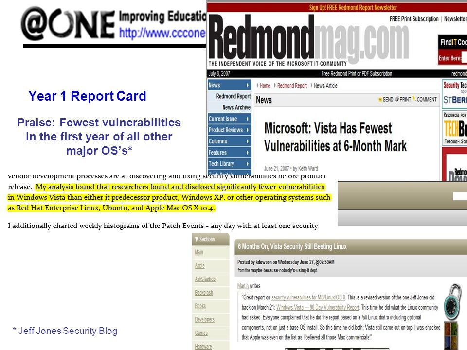Year 1 Report Card Praise: Fewest vulnerabilities in the first year of all other major OSs* * Jeff Jones Security Blog
