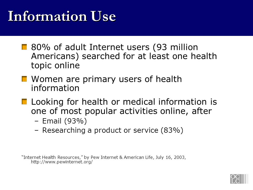 Information Use 80% of adult Internet users (93 million Americans) searched for at least one health topic online Women are primary users of health information Looking for health or medical information is one of most popular activities online, after –Email (93%) –Researching a product or service (83%) Internet Health Resources, by Pew Internet & American Life, July 16, 2003, http://www.pewinternet.org/