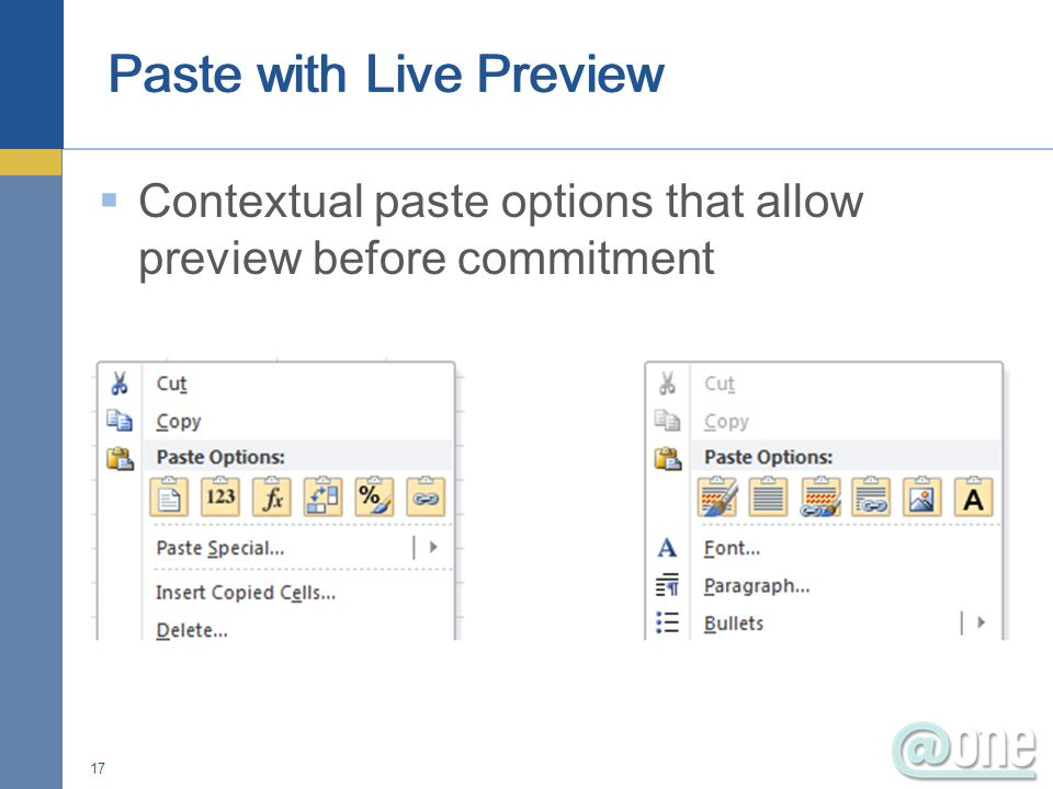 Contextual paste options that allow preview before commitment 17