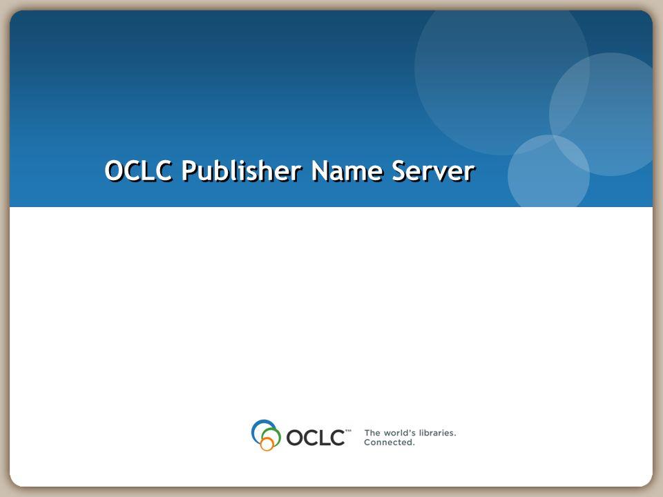 OCLC Publisher Name Server