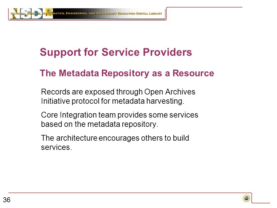 36 The Metadata Repository as a Resource Records are exposed through Open Archives Initiative protocol for metadata harvesting.