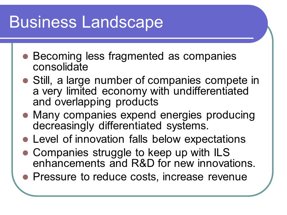 Business Landscape Becoming less fragmented as companies consolidate Still, a large number of companies compete in a very limited economy with undifferentiated and overlapping products Many companies expend energies producing decreasingly differentiated systems.