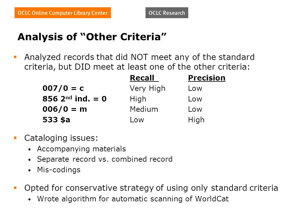 Analysis of Other Criteria Analyzed records that did NOT meet any of the standard criteria, but DID meet at least one of the other criteria: RecallPrecision 007/0 = cVery HighLow nd ind.