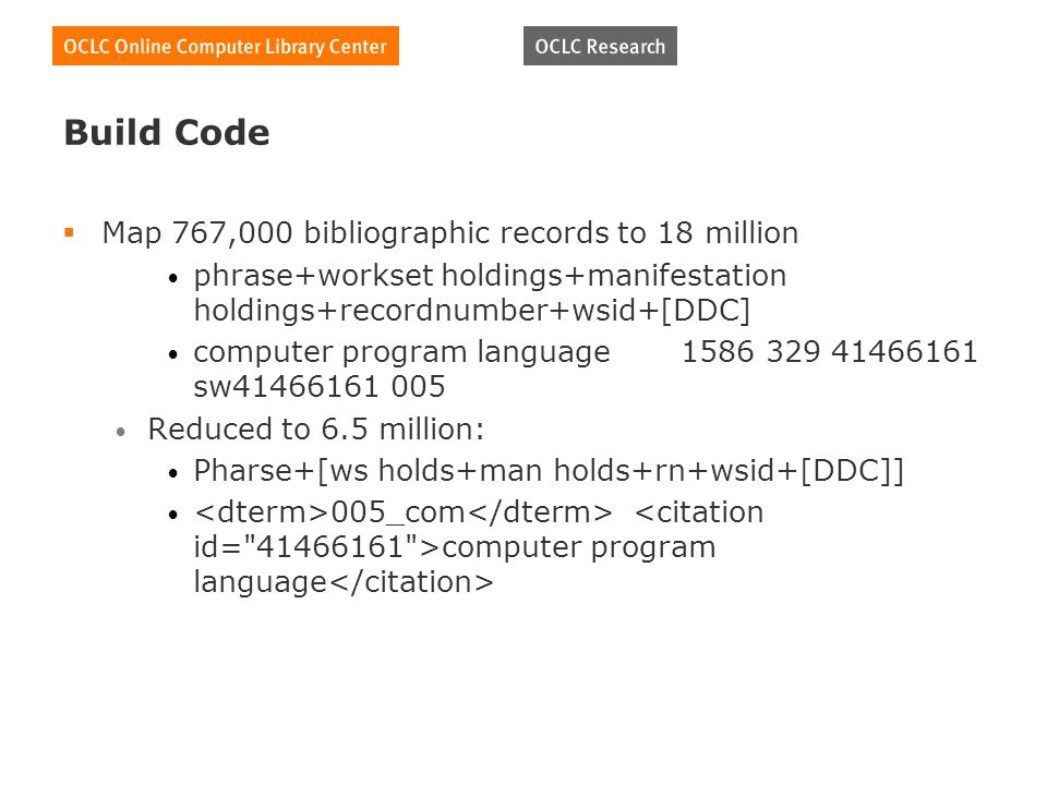 Build Code Map 767,000 bibliographic records to 18 million phrase+workset holdings+manifestation holdings+recordnumber+wsid+[DDC] computer program language sw Reduced to 6.5 million: Pharse+[ws holds+man holds+rn+wsid+[DDC]] 005_com computer program language
