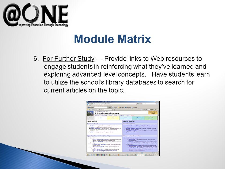 Module Matrix 6.